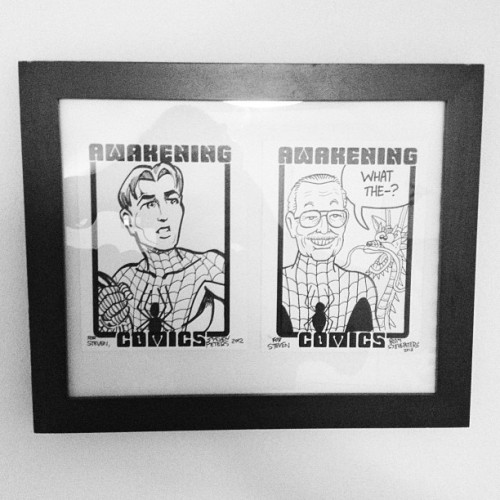 Framed the two #sketch cards that I've gotten from #StevePeters of #AwakeningComics for #FreeComicBookDay in 2012 & 2013 #spiderman #stanlee #marvel #comics #instagram