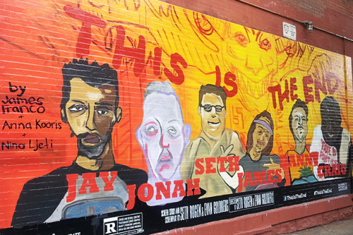 hollywooddotcom:  James Franco's 'This is The End' mural is actually kind of cool.