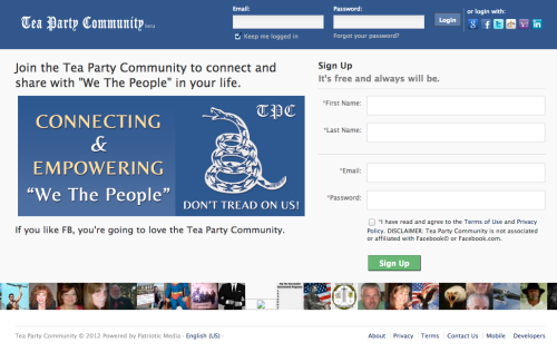 Ever wanted to join a site that was like Facebook, except with a clunkier name and more of a Tea Party vibe? We have you covered. I want to see Fincher make a movie out of this. (ht vpbiden)