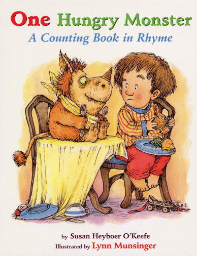 One Hungry Monster - A Counting Book In Rhyme: Creating a narrative for a children's book is difficult. You have to ask a lot of questions about your story; has it been done before? Is it similar to another narrative? Is it compelling enough for children to read? Will children understand the story? To aid my search for a strong narrative for children, I've decided to look through stories that I grew up with, and stories that I feel hold a strong narrative. One Hungry Monster depicts the tale of a little boy that is woken up in the night to find monsters demanding something to eat, eventually more and more hungry monsters invite themselves in as they smell food. The story is not only fun for children and parents, but it also secretly educates children, as they learn to count and read as they go through. The story is written in a simple fashion, and we follow the story until ten monsters fill the boy's home:   One hungry monster underneath my bed, moaning and groaning and begging to be fed! Two hungry monsters at my wardrobe door, chewing up my trainers, and asking me for more! Three hungry monsters in the upstairs hall, lick the flower paintings hanging on the wall! Four hungry monsters around my Daddy's bed, sniffing out the crackers that he'd eaten in his bed! Five hungry monsters sliding down the rail, munching and crunching on one another's tail! Six hungry monsters underneath the rug, tracking down some footprints to catch a tasty bug! Seven hungry monsters around our TV screen, drooling at commercials of sauerkraut and beans! Eight hungry monsters on the chandeliers, they swear they haven't eaten for almost twenty years! Nine hungry monsters wearing roller skates, hunting through the kitchen for knives and forks and plates! Ten hungry monsters about to fuss and kick, wont get out, they tell me, unless I feed them quick! So I bring out one jug of apple juice, two loaves of bread, three bowls of spaghetti that they dump upon my head!  Four red tomatoes, five pickled pears, six orange pumpkins that they climb up and down like stairs! Seven roasted turkeys, eight apple pies, nine watermelons that they wish were twice the size! Ten jars of peanut butter but not a speck of jam, 'cause I want every monster mouth shut tighter than a clam! Then from behind the toaster, I looked behind and got, a little apple muffin, that the monsters couldn't spot!  - Susan Heyboer O'Keefe, One Hungry Monster