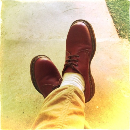 Oxblood Dr. Martens.  Made in UK.