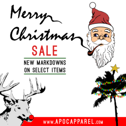 Reduced Prices. Check it out! www.apocapparel.com/collections/on-saleMerry Christmas!!!