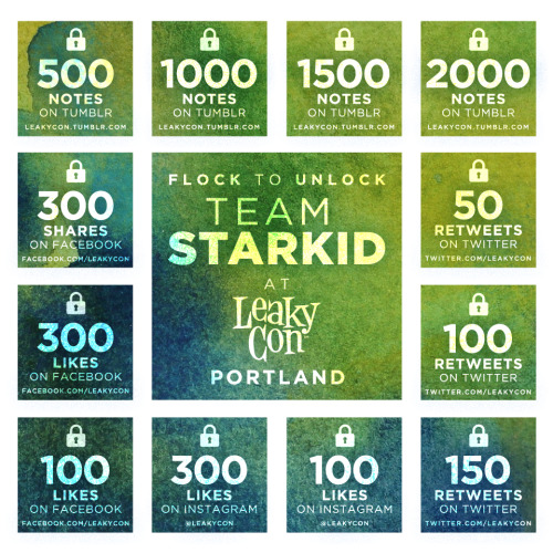 leakycon:  STARKID IS COMING TO PORTLAND, BUT WHO WILL BE THERE?We figure you guys could guess that after last year we'd be inviting back Team StarKid to be part of LeakyCon Portland, but we know you DON'T know who will be there this year as part of our Very StarKid Event.  Want to find out?  We've got exclusive selfies from the StarKids to reveal their participation, but to see them you have to unlock the grid above, starting right here on Tumblr. When this post gets 500 notes, we'll unlock the first StarKid performer (in a new post) and so on until we move to the next social media platform.  Got your reblog finger ready?  GO! Edit: For those asking, this is just the Portland event lineup.  London info COMING SOON.