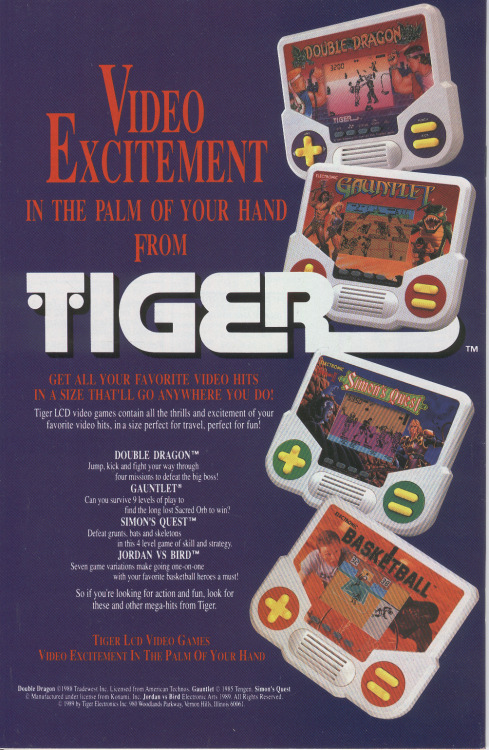 Ad for various handheld LCD games by Tiger.