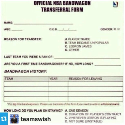 #regram #hereyougo #officialBandwagonTransferralForm #Lmfao #legit @teamswish #wordup #youallknowwhoyouare 😏
