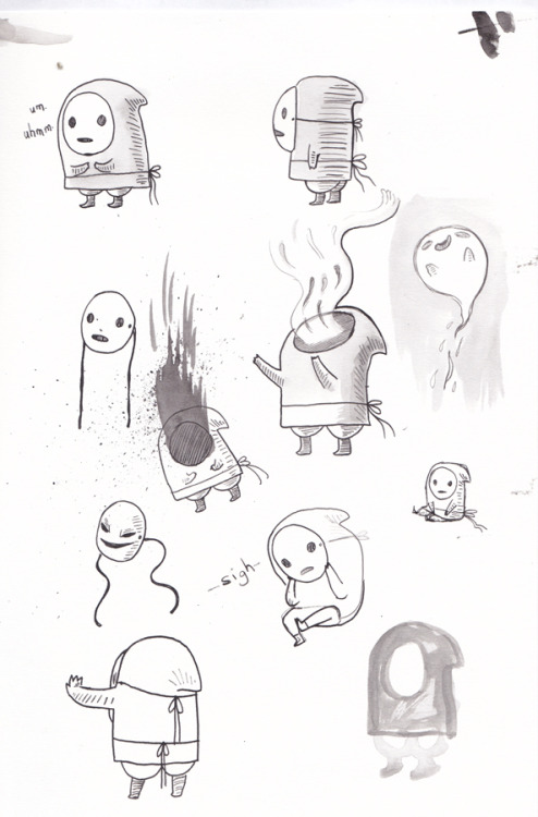 what happens when a shy guy takes off it's mask?  prelim drawings for a possible comic
