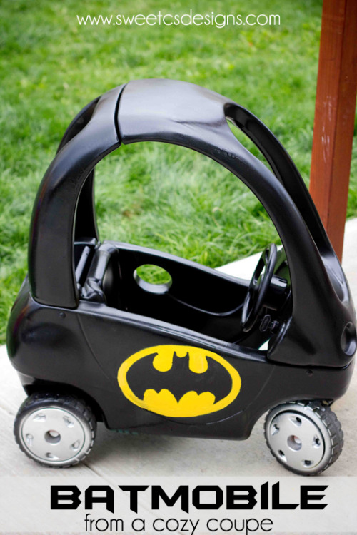 DIY Easy Cozy Coupe to Batmobile Tutorial from Sweet C's Designs here. She picked up a used Cozy Coupe for $7 and transformed it with spray paint.