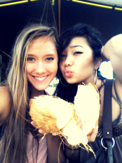 Love this picture. Me and my girl Megs eating my first coconut in Hawaii <3