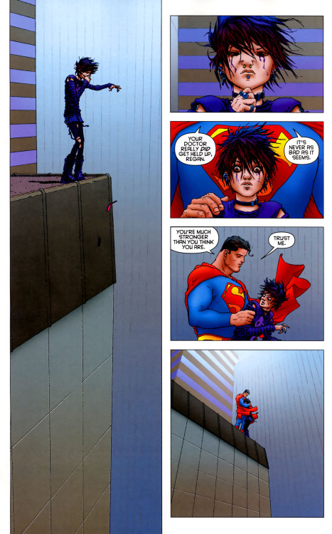 "deantrippe:  lastcastpodcast:  Highlights from All-Star Superman. (as discussed in Broadcast 6 of The Last Cast)  All Star. Always.  ""The monthly comics and slog to get out issue after issue of meaningless drivel is so weird to me.  In that, we've seen that the way to tell the kind of, life changing Superman stories lately, is to give the writer a little free reign outside the continuity to tell the story that he wants."" - (the ghost of) Dean Trippe I just finished listening to this podcast and couldn't agree more with Dean's perspective."