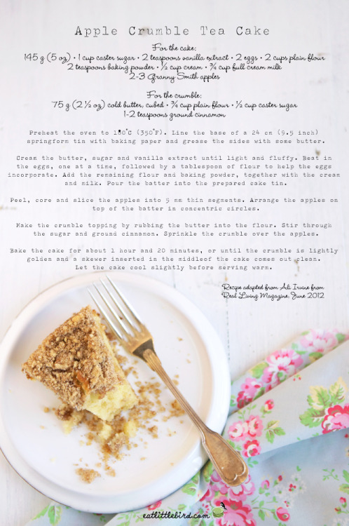 efccooking:  Apple Crumble Tea Cake