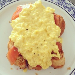 Scrambled eggs and smoked salmon on toasted croissants! #food #brunch