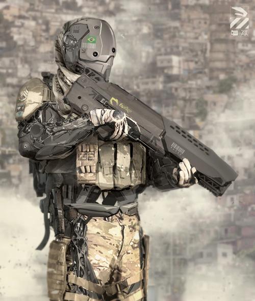 starsfive:  Nuthin' But Mech: Brazilian Infantry Drone via www.cgpin.com