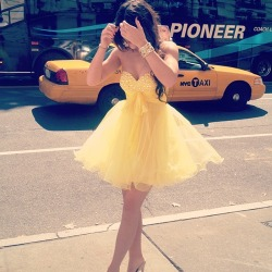 Kylie Jenner Wears a lovely Flirty Yellow Dress in NYC