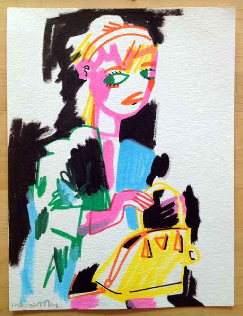 drawingsofgirlson:  Girl with a Prada bag.