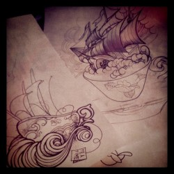 Les marins çà boit de la tisane #julao #tattoo #flash #tea#design#dotwork #cup