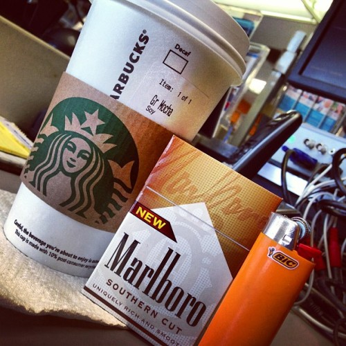 This is how I party for cinco de mayo. ☕🚬 #HappyCincoDeMayo #Work (at $1 Movie (Rental))