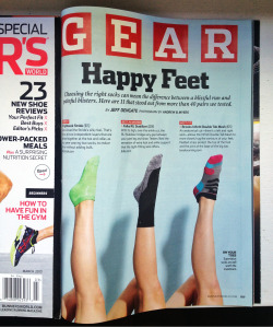 Doing some parts work to show best running socks in the March issue of Runner's World Magazine 👟