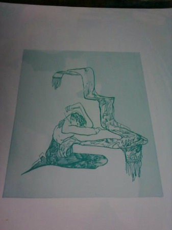 Here you go tumblr have a shitty cellphone picture of my very first lithograph plate!  I am fairly sure I fucked up either the exposure or applying the gum arabic I WILL TEST MORE TOMORROW maybe?