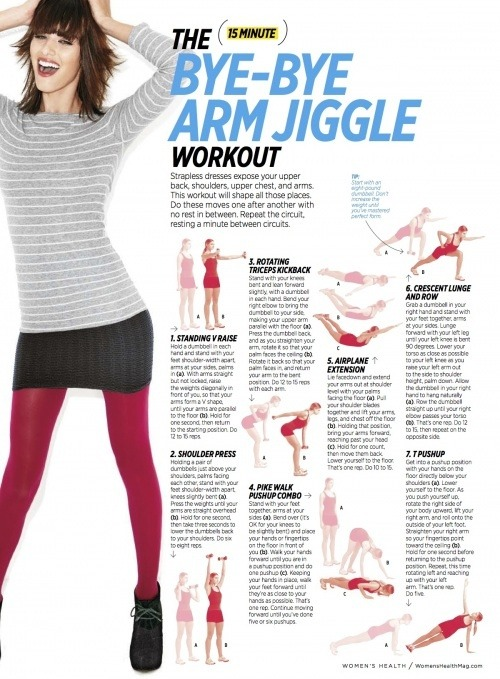 "The ""Bye-Bye Arm Jiggle"" Workout. Must add into my workout! :)"