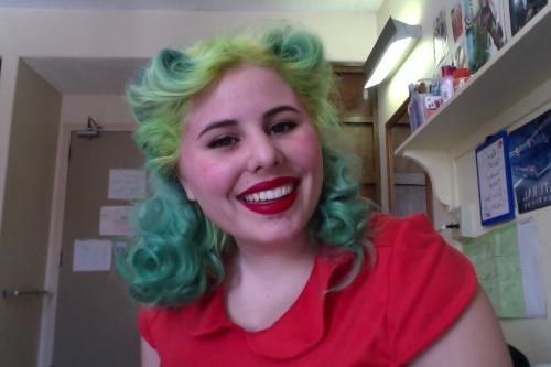 Took the St. Patrick's day plunge and spent hours turning the hair green. This morning for the first time since I pin curled it and tried some rolls. I try to stay away from them cause I don't really see them all too much in old pictures so they're not historically accurate I think. Not that the color of mine is….