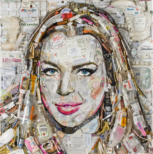 Trashy. Play I Spy with Jason Mercier's new portrait of Lindsay Lohan.