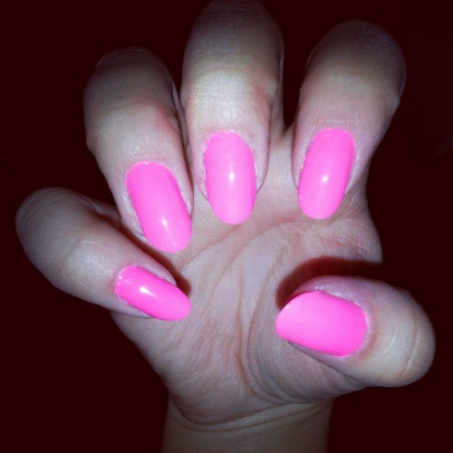 Messy but I love it. #pink #nails #awesome