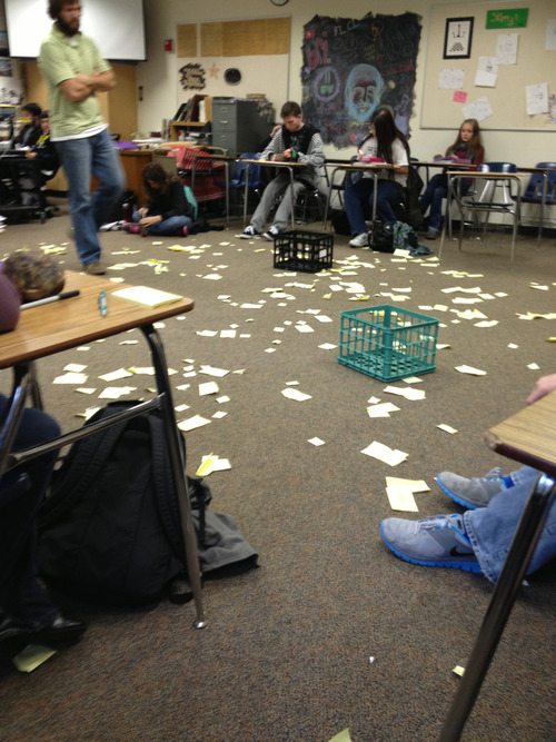 educationalliberty:  In my Sociology class, we had to write every hurtful word we've ever been called on a sticky note and then stick it to our body. We then went around and took them off of each other. Most of us in tears…this is the aftermath.