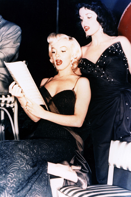 Marilyn Monroe & Jane Russell during rehearsals on the set of Gentlemen Prefer Blondes, 1953.
