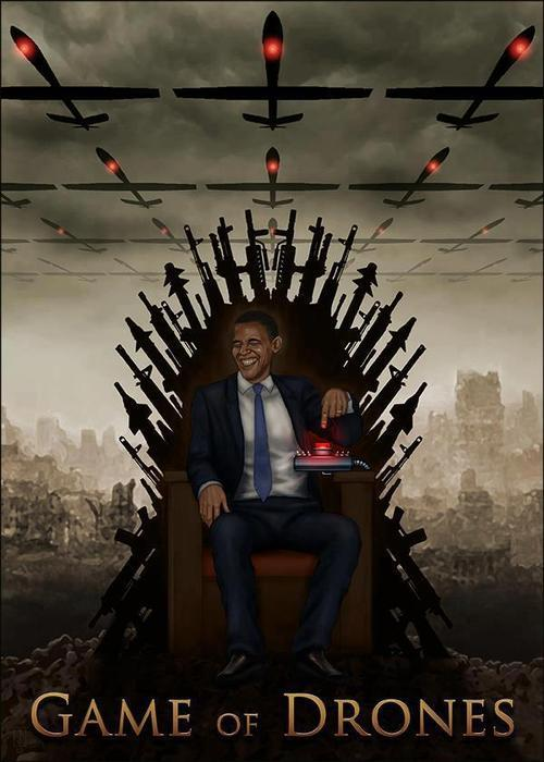Game of Drones The guy who won the Nobel Peace Prize sitting on his Drone Throne.
