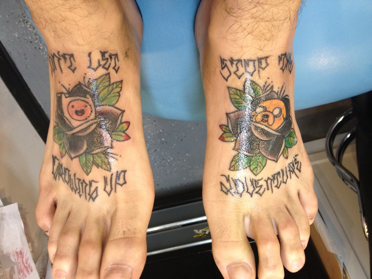 "fuckyeahtattoos:  fin and jake ""dont let growing up stop the adventure"" done at saber tooth tattoos in ocean beach san diego california"