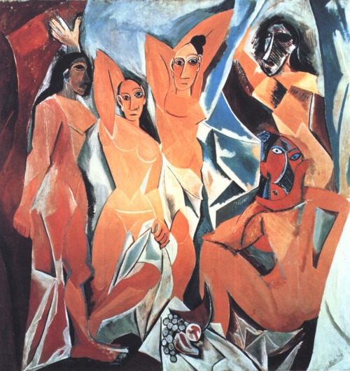 cavetocanvas:  Pablo Picasso, Les Demoiselles d'Avignon, 1907 Things to think about when studying: What movement / objects influenced this painting? How does it act as a bridge between Primitivism and Cubism?