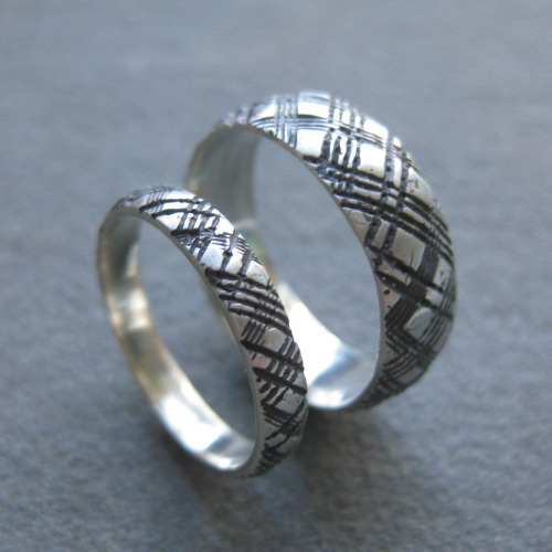 plaid wedding band set