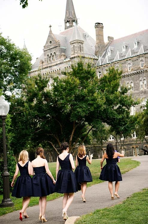 bridesmaids at Georgetown University wedding of Ali and Steve by Belathée Photography
