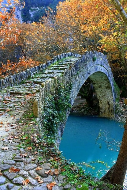 Ancient Stone Bridge, Epirus, Greece photo via liz