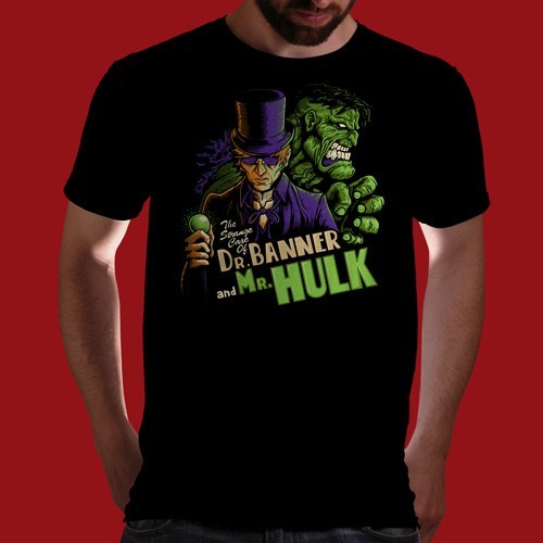 "qwertee:  ""The Strange Case of Dr. Banner and Mr. Hulk"" is today's tee on www.Qwertee.com Get this great design now for the super price of £8/€10/$12 for 24 hours only. Be sure to ""Like"" this for 1 chance at a FREE TEE this weekend, ""Reblog"" it for 2 chances and ""Follow"" us for a 3rd chance (if you're not already:) Thanks Guys!"