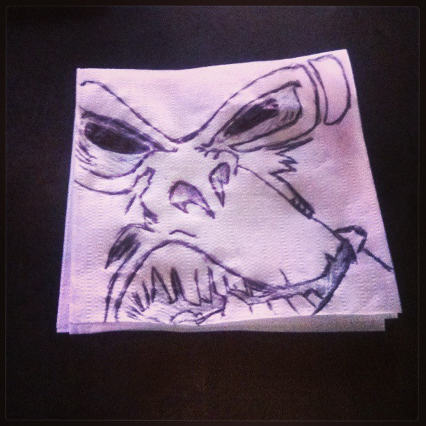 #angrymonkey #monkey #drawing #drunkart #drunk #art #napkin #barart