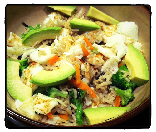 stirfry with scrambled egg, wild rice, veggies, and avo.