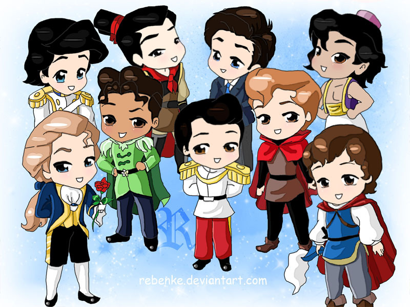 disneyprincessesrock:  Chibi-Disney Princes by ~rebenke