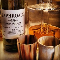 Enjoying a dram of @laphroaig in our #oxhorn #whiskey #tumblers #Islay #singlemalt #sirjacks