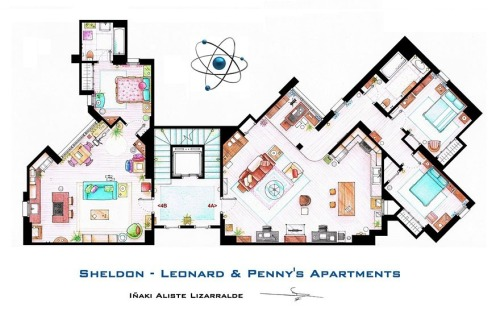 ubi-quit-ous:  Floor-plan of the Big Bang Theory