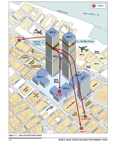 Search for human remains at 9/11 plane debris site in NYC begins (Graphic: FEMA) Workers for the New York City medical examiner's office have begun sifting soil for possible human remains at a site near the World Trade Center where a chunk of airplane debris believed to have come from one of the 9/11 hijacked jetliners was found. Read the complete story.