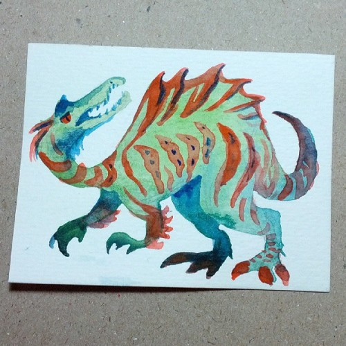 Micro Spino Dino #warmup #watercolor #paintings #PaleoParty #dinosaur #illustration #prehistoric #dinofashion #claws #spines #fierce #instagramart #art #artistsoninstagram