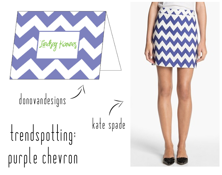 oh hello kate spade, we love purple chevron, too! {donovandesigns personalized foldover; kate spade chevron skirt}