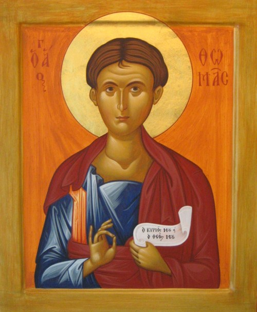 "This is the icon of the apostle; it is the image of the disciple of my Saviour, who saw Him in person, who went with Him, and saw Him work miracles, and heard Him preach, saw Him suffer for the salvation of the world, and rise from the dead and ascend into heaven. This is the icon of the martyr; it is the image of that struggler who withstood even to blood for the honor of my Saviour Jesus Christ, and did not spare even his own holy life for His name, and he established our pious faith as true by pouring forth his own blood; and so on. This word, the Sacred Scripture which I hear, is the word of God, it is the word of His mouth. The mouth of my Lord spoke this, and through it my God speaks to me, ""The law of Thy mouth is better to me than thousands of gold and silver"" (LXX-Ps. 118:72 [KJV-Ps. 119:72]). O Lord, grant me ears to hear Thy holy word. - From St. Tikon of Zadonsk ""Journey to Heaven"" ☦Please beloved St. Thomas pray for us!!! ☦"