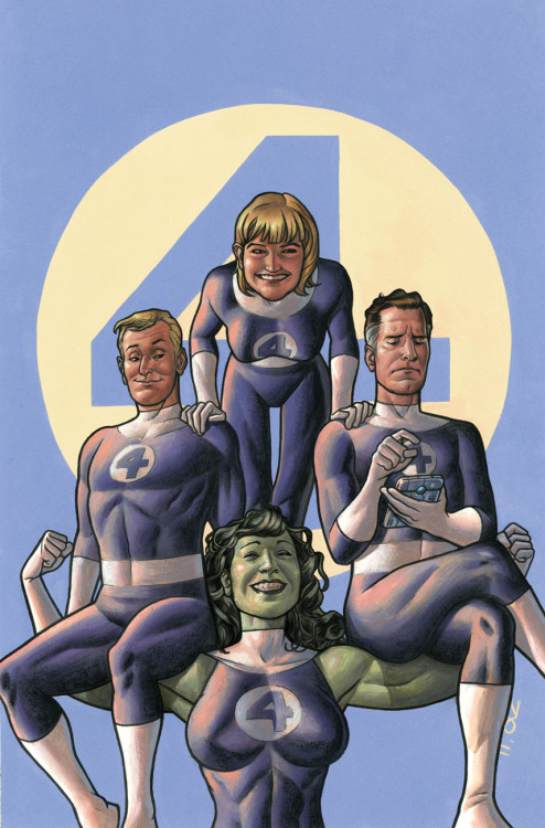 noahbodie:  Fantastic Four 50th anniversary variant cover painted by Joe Quinones, for X-Men Vol 3 #16.  It's also a references to the John Byrne era of the team's title, during which She-Hulk first became a member.
