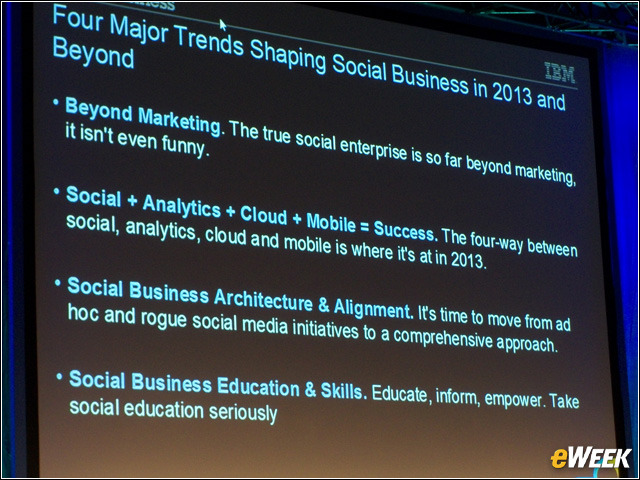 IBM: Four Major Trends Shaping Social Business in 2013 and Beyond At the IBM Connect 2013 conference in Orlando, Fla., Big Blue delved into the issue of what trends will affect social business in the next year and beyond. To that end, a panel of three participants discussed the trends they believe will lead to further adoption of social business. The panelists were Beverly Macy, CEO of Gravity Summit and Huffington Post columnist; Mark Fidelman, CEO of Evolve and Forbes.com columnist; and Sandy Carter, vice president of social business sales and evangelism at IBM. Carter said the first major trend shaping social business is that it is moving beyond marketing. Marketing became one of the first pieces of a business to go social, and now more segments are adopting social principles, she said. For instance, one company IBM supports is using social business software in its patent process, and another in its regulatory compliance department