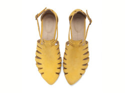 themodernexchange:  Alice Yellow Leather Flats | Tamar Shalem on Etsy
