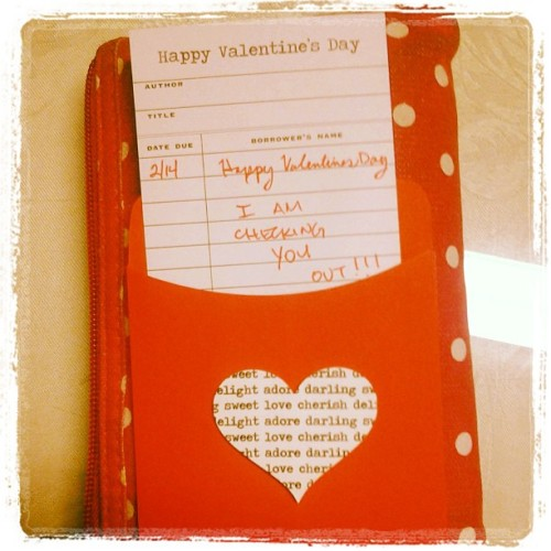 midnitemoz:  love letter from my boy, can you tell hes a librarian? #vday#cute#librarian#mail#j