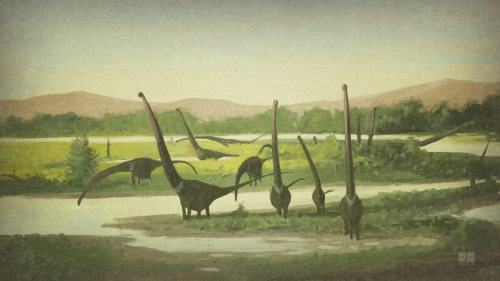 This is the first in a new series of sketch-paintings I'm doing of sauropod herds — the absurdly proportioned Mamenchisaurus. You can buy a print of this painting, along with the rest of the series here.