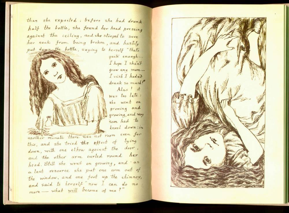 lewis carroll's original manuscript for alice's adventures under ground (via Flavorwire)